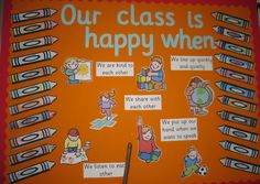 want to reflect class rules:: Our class is happy when. classroom display (source: SparkleBox)Different want to reflect class rules:: Our class is happy when. Class Rules Display, Classroom Rules Display, Ks1 Classroom, Year 1 Classroom, Early Years Classroom, Class Displays, Infant Classroom, Classroom Organisation, Classroom Displays Eyfs