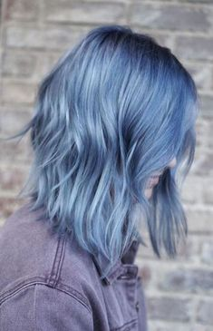 Gallery of all hair color images featured on Mane Interest. Smokey Blue Hair, Pastel Hair Dye, Short Pastel Hair, Dyed Hair Blue, Short Dyed Hair, Dye Hair, Short Blue Hair, Best Hair Dye, Hair Bow