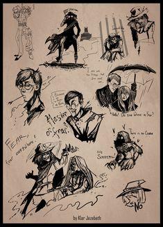 Scarecrow Scetch (part II) by Klar-Jezebeth on DeviantArt Arkham Knight Scarecrow, Scarecrow Batman, Gotham Villains, Comic Villains, Scarecrow Drawing, Dr Jonathan Crane, Cute Batman, Comic Character, Sketches