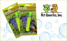 Blow long-lasting bubbles for your pup to chase and pop! Incredibubbles dry in the air, and land on the ground intact, waiting to be attacked by your dog. Dogs really love chasing and bursting these bubbles! They're economical, fantastic fun, non-toxic and come in peach flavor. This deal comes with two packs of peach-scented bubbles. $9
