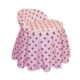 Katie'S Kids Vanity Chair By Skyline Furniture In Pink And Brown Polka-Dot Cotton