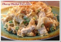 Cheesy Chicken Casserole- family loved this... Recipe could have been cut in half but i froze half and we had leftovers! only changes I made were:  Used a sleeve of ritz crackers instead of club, added cooked onion, and let my kids pick the pasta which turned out to be mini penne!!! It was gobbled up :))