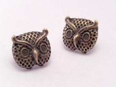 Mini Bronze Lil Hooters Owl Post Earrings by luv4sams on Etsy, $11.00