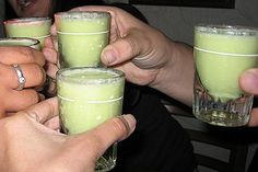 #ScoobySnack (aka best shot ever) Ingredients: 1 oz. Midori Melon Liqueur, 1 oz. Malibu Coconut Rum, 1/2 oz. Pineapple Juice, 1/2 oz. Whipped Cream. Instructions: Pour ingredients into a shaker with ice, including whipped cream. Shake and strain into a shot glass. Drink & be merry.