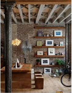 Love:  *shelving  *brick wall  *exposed beams