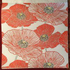 Vintage Poppy Wallpaper Exquisite Lineswork Art Deco