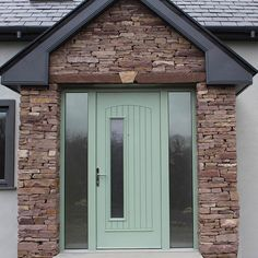 Beautiful modern front door in Chartwell Green. This door is a composite door from the Palladio collection. The Palladio composite door is the best door on the Uk and Irish market. Cottage Front Doors, Green Front Doors, Porch Doors, Front Doors With Windows, Modern Front Door, House Front Door, Barbacoa, Porch Uk, Front Door Numbers