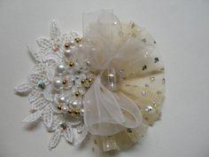 Petite Unique Lace Fascinator Hair Piece Ivory by HareBizBows
