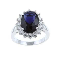 Evalue Jewelry Sterling Essentials Sterling Silver Blue Glass and Clear Cubic Zirconia Diana Ring