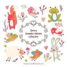animais primavera adorável e em natureza Vetor grátis