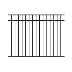Barrette 4-ft 6-in x 6-ft Flat Top 3-Rail Panel Black  for b/t the pool area and our yard