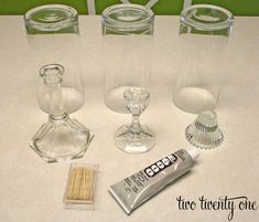 Thrifty Hurricane Tutorial - Make Hurricane Candle Holders from dollar store candleholders and vases.
