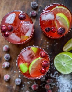 fresh cranberry ginger vanilla margaritas (with sugared cranberries.) I howsweeteats.com
