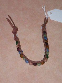 Suede friendship bracelet with sea glass beads from Davy Jones Locker