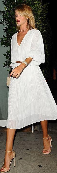 Necklace – Jennifer Meyer  Dress – Zimmermann  Shoes – Stuart Weitzman  Bracelet – Isabel Marant  Rings – Anita Ko