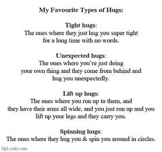 Types of hugs and meanings