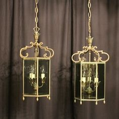 French Pair Of Triple Light Antique Lanterns - Decorative Collective