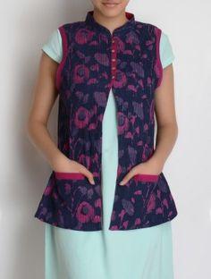 Black Striped Open Back Crop Tank Top Salwar Designs, Kurta Designs Women, Saree Blouse Designs, Kalamkari Dresses, Fashion Week 2016, Frocks For Girls, Winter Coats Women, Jacket Pattern, Indian Designer Wear