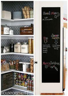 Wallpaper in the pantry & chalkboard paint inside the door!