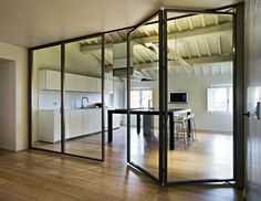 folding interior glass door walls | Glass Walls in the Home