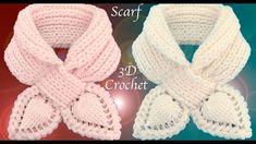 Bufanda a Crochet  Puntos elástico Inglés Punto de hojas 3D trenzadas te...