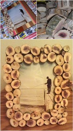 Old Wood Slice Photo Frame - 22 Genius DIY Home Decor Projects You Will Fall in Love with!!