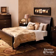 Grandeur Bedroom | This collection is a compliment to contemporary style with its clean lines, sleigh beds, inset accent trim and sleek satin-nickel hardware.
