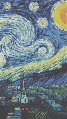 Vincent Van Gogh The Starry Night Wallpaper. Van Gogh Wallpaper, Wallpaper World, Painting Wallpaper, Tumblr Wallpaper, Wallpaper Backgrounds, Painting Canvas, Canvas Art, Phone Backgrounds, Summer Backgrounds