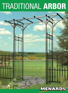 Streamlined and rugged, the Main Street Arbor combines the traditional appearance of wrought iron railings with finial and scroll accents. Garden Railings, Iron Railings, Main Street, Wrought Iron, Enchanted, Outdoor Gardens, Maine, Landscaping, Outdoor Structures