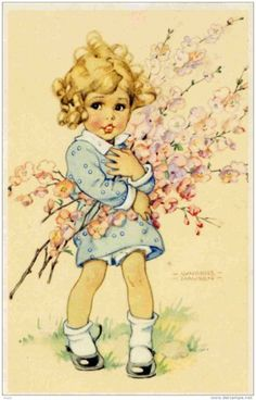 Springtime! ~ Vintage postcard illustrated by Lungers Hausen (1900- 1991)