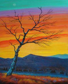 """""""Along the Mohawk Trail,"""" acrylic on found wood, by Sushila Oliphant."""