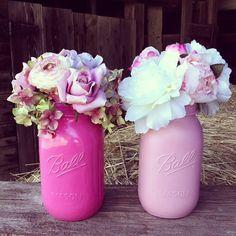 Mason Jar Centerpiece Pink Mason Jar Country by DownInTheBoondocks, $7.00