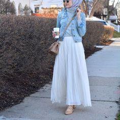 17 Trendy Ideas For Skirt Outfits Hijab Chic Islamic Fashion, Muslim Fashion, Modest Fashion, Fashion Outfits, Fashion Fashion, Trendy Fashion, Trendy Style, Denim Fashion, Vintage Fashion