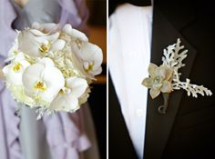 White orchid bridesmaid bouquet and succulent groomsmen boutonniere.  www.mikiandsonja.com