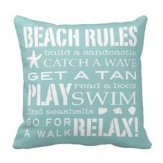 Love these pillows! They'd look awesome on a chair in a beach hut or in a bathroom. Beach Rules By the Seashore Soft Aqua & White Throw Pillows
