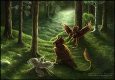 three griffons in the forest