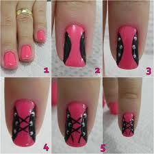 Finally, a corset nail art tutorial even we can do! Nail Art At Home, Nail Art Diy, Easy Nail Art, Cool Nail Art, Get Nails, Fancy Nails, Pretty Nails, Hair And Nails, Corset Nails