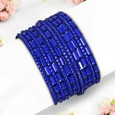 Fashion Pave Crystal Beaded Multi Wrap Blue Velvet Snap Bracelet Crystal Beads, Crystals, Steel Jewelry, Blue Velvet, Fashion Bracelets, Mystic, Bracelet Watch, Bags, Accessories