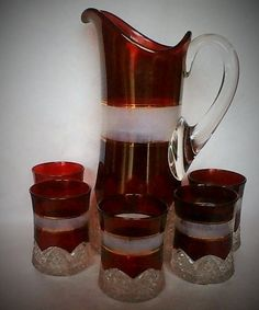 Button Arches Ruby Stained with Frosted Band Pitcher and Five Glasses