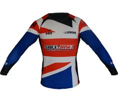 HD official UKMMAF  long sleeved pro MMA rash guard Red/Blue