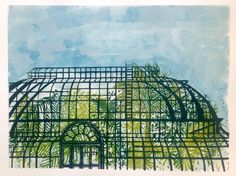 ARTFINDER: Outside the Palm House by Alison Headley - This is my second image of The Palm House in Kew Gardens. I am making it my personal mission to capture as much of that beautiful place into linocut form! ... Buy Prints, Prints For Sale, Garden Drawing, Kew Gardens, Small Art, Glass House, Paintings For Sale, Cool Drawings, Lovers Art