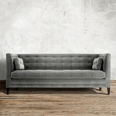 "Clancy 86"" Tufted Upholstered Sofa In Vangogh Fog | Arhaus Furniture"