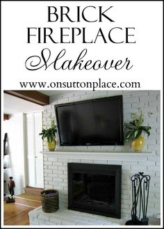 Painting over brick fireplace- yes or no? See the shocking before and after of this painted brick fireplace makeover! House Styles, Fireplace Design, Brick Fireplace Makeover, Fireplace Decor, Brick Fireplace, Fireplace, Painted Brick, Painted Brick Fireplace, Room Paint Colors