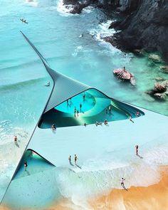 Concept Architecture, Amazing Architecture, Landscape Architecture, Architecture Design, Parametric Architecture, Minimalist Architecture, Underwater House, Underwater World, Future Buildings