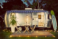 a dressed-up Airstream camper camping-glamour-glamping Kombi Motorhome, Airstream Campers, Camper Trailers, Airstream Living, Airstream Decor, Casita Trailer, Airstream Bambi, Rv Bus, Small Trailer