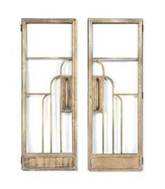 A PAIR OF ENGLISH ART DECO BRASS DOORS c1930 PAINT THE INSIDE OF THE LOBBY DOOR!!! (THE THEATRE SIDE CAN STILL BE BLACK)