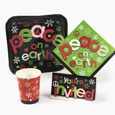 **Peace on Earth Tableware/Invites (40pcs)** :  Entertain your holiday crowd in style with this festive tableware.