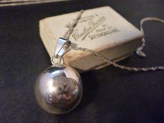 "Sterling silver - Plain harmony ball -  chime bell - 925 - Sterling silver - pendant Necklace - Vintage - pendant 20 cm x 20 cm - 15"" chain by MalvernJewellery on Etsy"