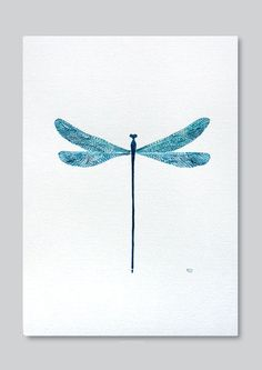 Dragonfly print, teal Water-colour illustration by VApinx by VApinx on Etsy https://www.etsy.com/listing/184730634/dragonfly-print-teal-water-colour....x