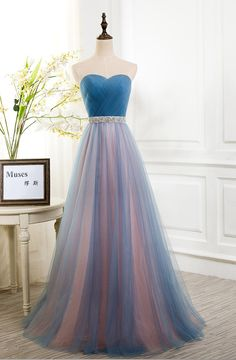 $189.00 Corset Back Prom Dresss with Beaded Belt,Unique Double Colors Prom Dress